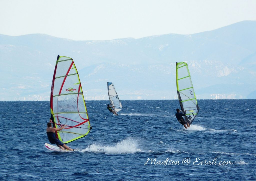 Windsurfers at Limni on the island of Limni